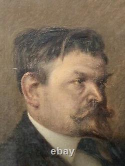 Peinture Huile sur Toile Portrait dHomme Époque XIX ème Antique French Painting