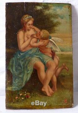 Peinture Sur Bois, Femme Et Angelot, époque XIX ème