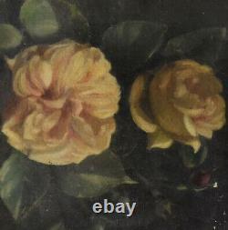 Peinture à l'huile paysage bouquet de roses époque fin XIXème