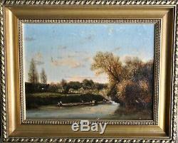 Peinture-huile-ecole De Barbizon-paysage Anime-riviere-epoque XIX Eme-arbres
