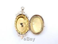 Pendentif porte photo ancien en or 18k et petites perles époque XIXeme