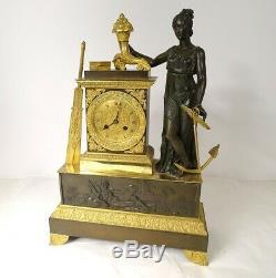 Pendule Allégorie du Commerce maritime bronze doré époque XIXème