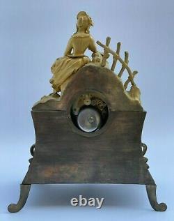Pendule Bronze XIX Eme Courtisane Oiseaux Cadran Email Epoque Romantique H2191
