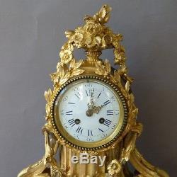 Pendule, Horloge Louis XVI En Bronze Doré Et Porcelaine De Sèvres, époque XIX èm