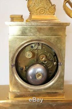 Pendule Troubadour En Bronze Doré Signée Fred Malzahn époque XIXème