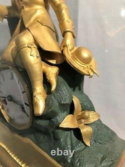 Pendule époque Charles X en bronze à deux patines début XIX ème siècle