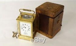 Pendulette officier voyage coffret cuir époque XIXème