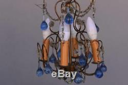 Petit lustre pampille en bronze époque fin XIXème goutte d'eau en verre
