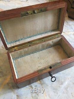 Petite Boite coffret ancien marqueterie Époque Napoléon III XIXème