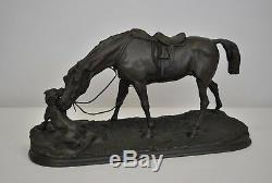 Pj Mêne, Jument à l'écurie Avec Chien, Bronze Signé, Epoque XIXème