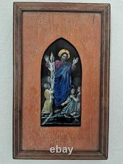 Plaque Emaillée De Limoges, Le Christ Bénissant, Epoque XIXème