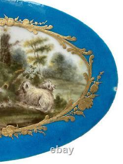 Plaque Porcelaine Polychrome Signée Marque Sèvres Femme Bergère Époque XIX ème