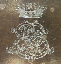 Plaque en Bronze Gravée Couronne de Comte Monogramme Aristocratie Époque XIX ème