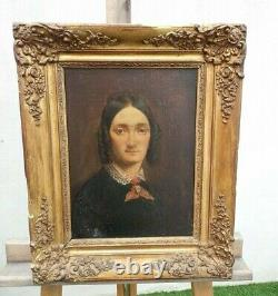 Portrait Ancien de femme huile sur toile époque XIXème