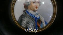 Portrait De Louis XV, Miniature Signée Jc, époque XIX ème