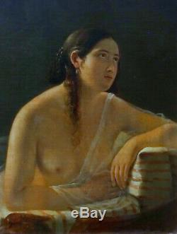 Portrait Femme à l'Antique Epoque 1er Empire Ecole Française HST XIXème siècle