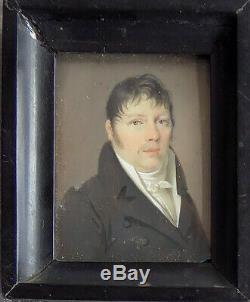 Portrait Miniature èpoque Empire. Ec. Française XIXéme. Signé Bosselman
