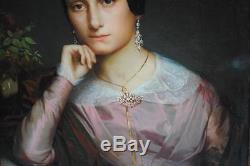 Portrait à l'huile par A. D Magaud époque XIXeme