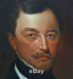 Portrait d'Homme Ecole Allemande du XIXème Siècle Epoque Bismarck HST Armoiries