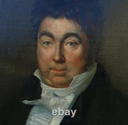 Portrait d'Homme Epoque Charles X Ecole Française du XIXème Huile sur Toile