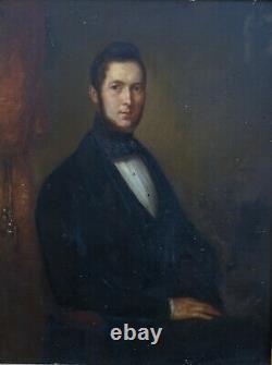 Portrait d'Homme Epoque Louis Philippe Ecole Française du XIXème Huile/Panneau