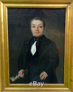 Portrait d'Homme Epoque Louis Philippe Ecole Française du XIXème Huile sur Toile
