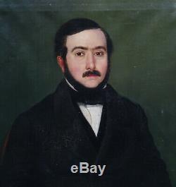 Portrait d'Homme Epoque Louis Philippe Ecole Française du XIXème Siècle HST