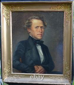 Portrait d'Homme Epoque Louis Philippe Ecole Romantique Française du XIXème HST