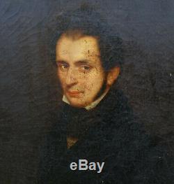 Portrait d'Homme Epoque Louis Philippe Ecole Romantique du XIXème Siècle HST