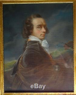 Portrait d'Homme Epoque Louis XV Ecole Française du XIXème siècle Pastel/Toile