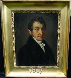 Portrait d'Homme Epoque Louis XVIII Huile sur Tôle du XIXème siècle