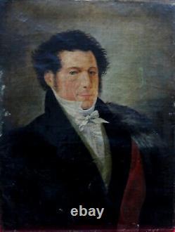 Portrait d'Homme d'Epoque Empire Ecole Française du XIXème siècle HST
