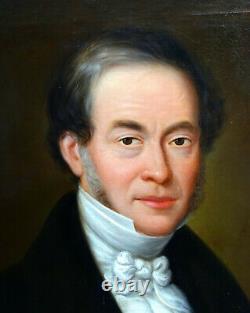 Portrait d'Homme d'Epoque Louis Philippe Ecole Française du XIXème siècle HST