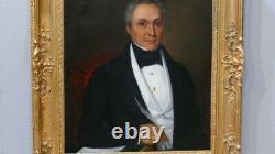 Portrait d'Un Notable à l'écriture Huile Sur Toile époque XIX ème Cadre Louis XV