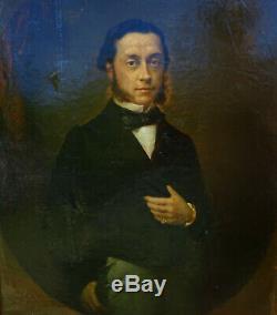 Portrait d'homme Epoque Louis Philippe HST XIXème siècle
