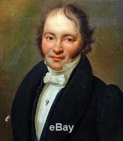 Portrait d'homme Epoque Louis XVIII Ecole romantique XIXème siècle Huile