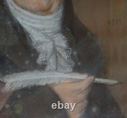 Portrait d'homme à la plume Pastel époque Empire XIXème siècle Ecole Française