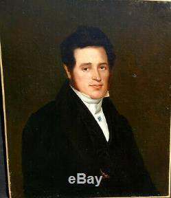 Portrait d'homme époque Louis Philippe HST début XIXème siècle