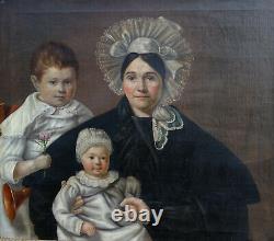 Portrait de Famille Femme et Enfants Epoque Louis Philippe HST du XIXème siècle