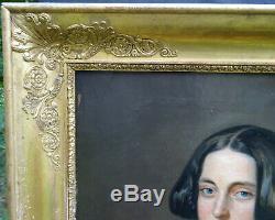 Portrait de Femme Baronne d'Epoque Louis Philippe HST du XIXème siècle Armoiries
