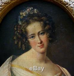 Portrait de Femme Ecole Romantique Française HST XIXème siècle Epoque Charles X