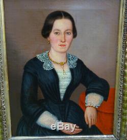 Portrait de Femme Epoque Bismarck Ecole Allemande du XIXème Siècle HST