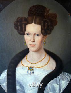 Portrait de Femme Epoque Charles X HST Ecole Allemande du XIXème siècle