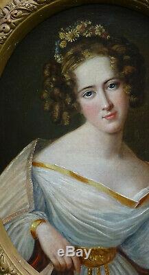 Portrait de Femme Epoque Charles X HST du XIXème siècle Ecole Française