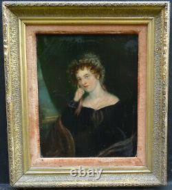Portrait de Femme Epoque Charles X Huile sur Panneau du début XIXème siècle