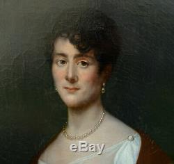 Portrait de Femme Epoque Ier Empire Ecole Française du XIXème siècle HST