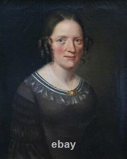 Portrait de Femme Epoque Louis Philippe Ecole Française du XIXème HST