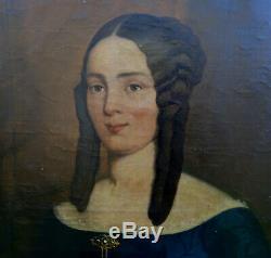 Portrait de Femme Epoque Louis Philippe Ecole Française du XIXème siècle HST