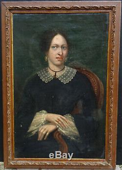 Portrait de Femme Epoque Louis Philippe Huile sur Toile XIXème siècle