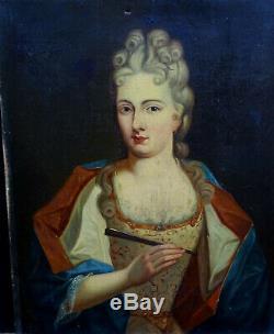 Portrait de Femme Epoque Louis XIV HST Ecole Française du XIXème siècle
